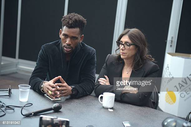 Actor Brandon Mychal Smith and Stacey Sher attend the Sweet/Vicious press junket at New York Comic Con at Javits Center on October 7 2016 in New York...