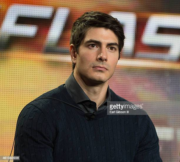Actor Brandon Routh serves as a panelist during the 'Arrow' and 'The Flash' panel as part of The CW 2015 Winter Television Critics Association press...
