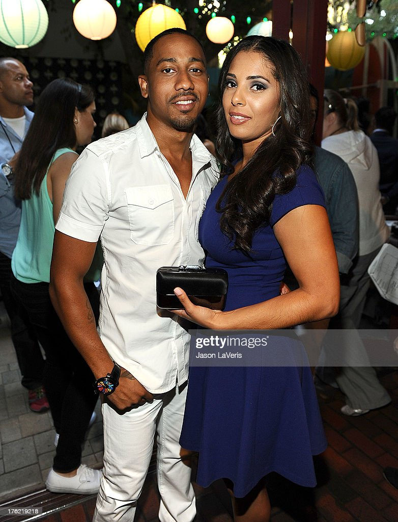 Actor <a gi-track='captionPersonalityLinkClicked' href=/galleries/search?phrase=Brandon+T.+Jackson&family=editorial&specificpeople=865581 ng-click='$event.stopPropagation()'>Brandon T. Jackson</a> and Denise Marie Xavier pose in the green room at the 2013 Teen Choice Awards at Gibson Amphitheatre on August 11, 2013 in Universal City, California.