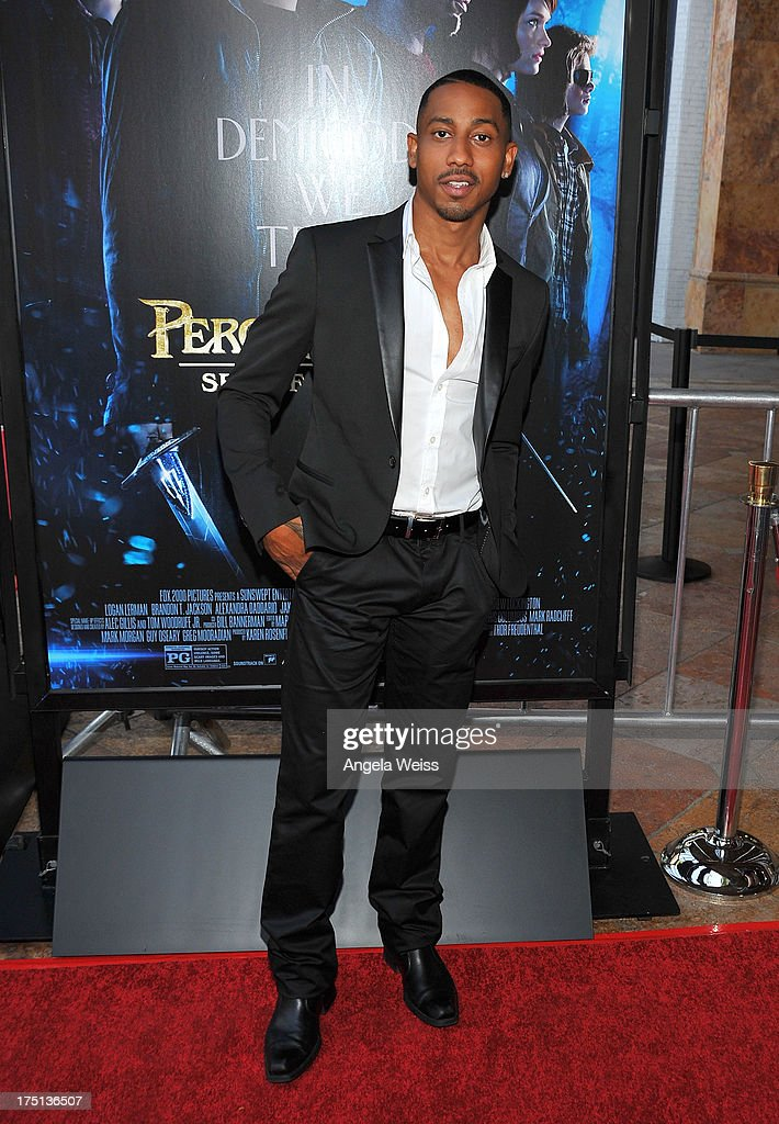 Actor <a gi-track='captionPersonalityLinkClicked' href=/galleries/search?phrase=Brandon+T.+Jackson+-+Actor&family=editorial&specificpeople=865581 ng-click='$event.stopPropagation()'>Brandon T. Jackson</a> arrives at the premiere of 'Percy Jackson: Sea Of Monsters' at The Americana at Brand on July 31, 2013 in Glendale, California.