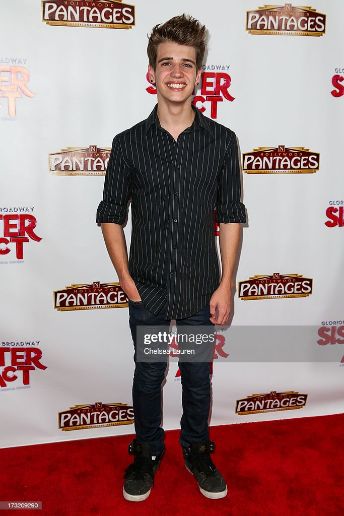 Actor Brandon Tyler Russell arrives at the 'Sister Act' opening night premiere at the Pantages Theatre on July 9, 2013 in Hollywood, California.