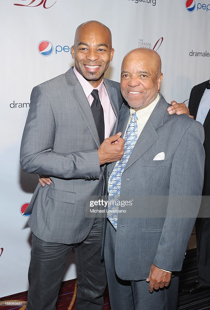 Actor Brandon Victor Dixon (L) and music producer/songwriter <a gi-track='captionPersonalityLinkClicked' href=/galleries/search?phrase=Berry+Gordy+Jr.&family=editorial&specificpeople=1541919 ng-click='$event.stopPropagation()'>Berry Gordy Jr.</a> attend the 79th Annual Drama League Awards Ceremony And Luncheon at Marriott Marquis Hotel on May 17, 2013 in New York City.