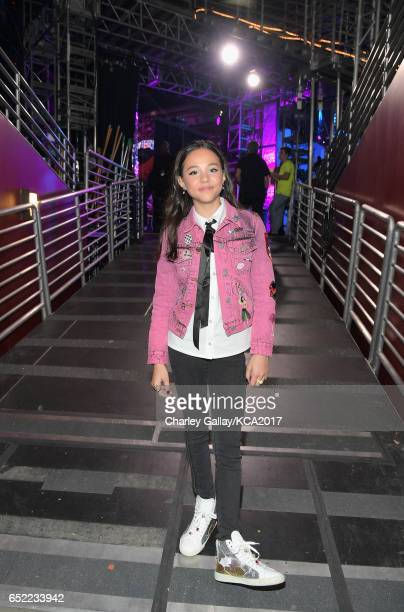 Actor Breanna Yde in the green room at Nickelodeon's 2017 Kids' Choice Awards at USC Galen Center on March 11 2017 in Los Angeles California
