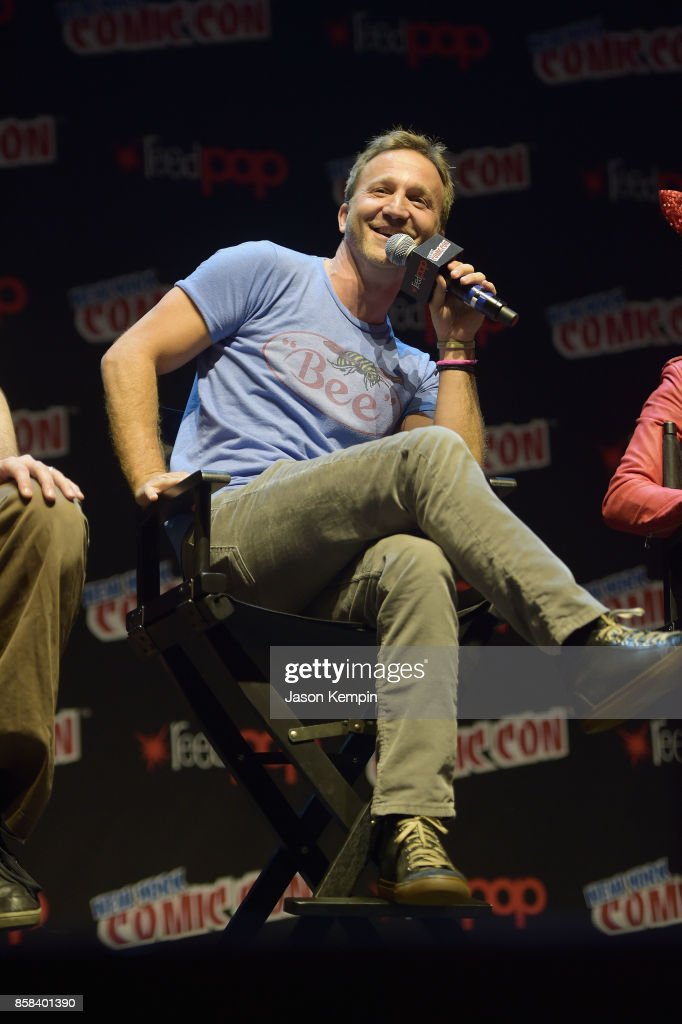 Actor Breckin Meyer speaks onstage at the Robot Chicken Panel during New York Comic Con 2017 -JK at Hammerstein Ballroom on October 6, 2017 in New York City. 27356_002