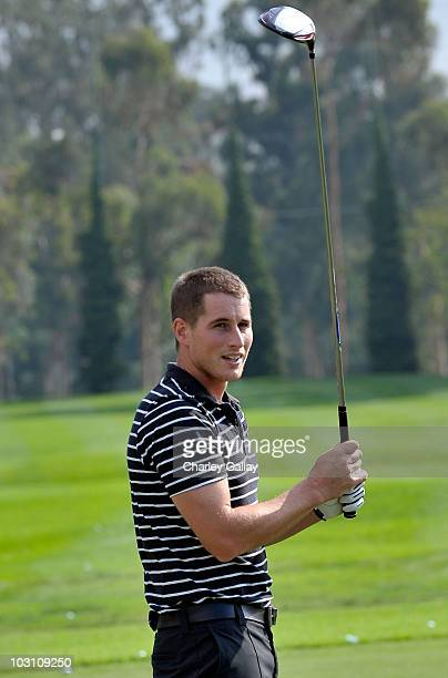 Actor Brendan Fehr warms up for the Maybach Golf Cup at Riviera Country Club on October 19 2009 in Pacific Palisades California