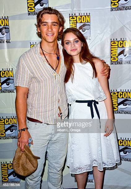 Actor Brenton Thwaites and actress Odeya Rush at 'The Giver' Presentation ComicCon International 2014 held at San Diego Convention Center on July 24...