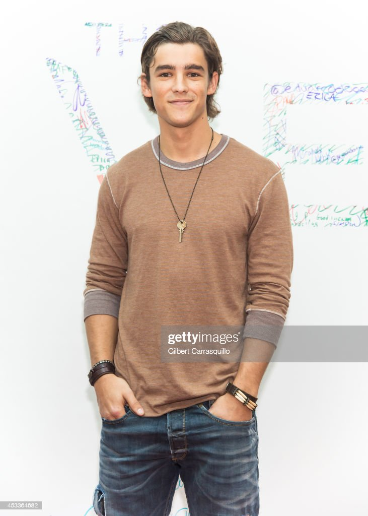 Actor Brenton Thwaites attends 'The Giver' Special Fan Event at Cherry Hill Mall on August 8 2014 in Cherry Hill New Jersey