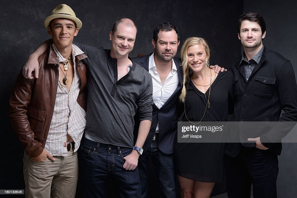 Actor Brenton Thwaites, director Mike Flanagan, actor Rory Cochrane, actress Katee Sackhoff and actor James Lafferty of 'Oculus' pose at the Guess Portrait Studio during 2013 Toronto International Film Festival on September 9, 2013 in Toronto, Canada.