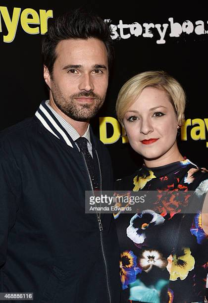 Actor Brett Dalton and his wife Melissa Trn arrive at the Los Angeles premiere of 'Dial A Prayer' at the Landmark Theater on April 7 2015 in Los...