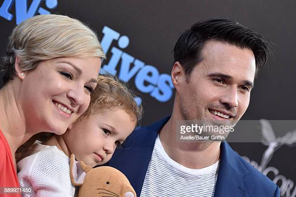 Actor Brett Dalton Melissa Trn and daughter Sylvia Dalton arrive at the premiere of EuropaCorp's 'Nine Lives' at TCL Chinese Theatre on August 1 2016...