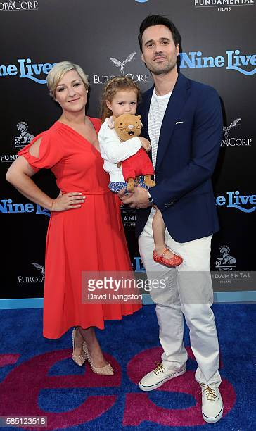 Actor Brett Dalton Melissa Trn and daughter Sylvia Dalton attend the premiere of EuropaCorp's 'Nine Lives' at the TCL Chinese Theatre on August 1...