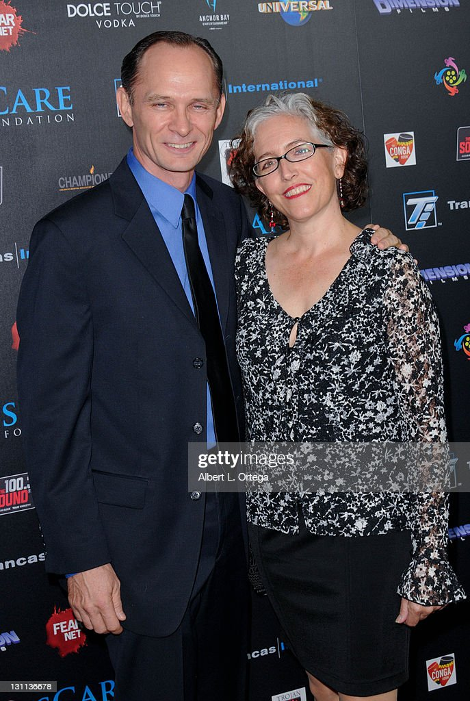 Actor Brett Rickaby and Laurie LeBlanc arrive for the sCare Foundation's 1st Annual Halloween Launch Benefit held at The Conga Room at L.A. Live on October 30, 2011 in Los Angeles, California.