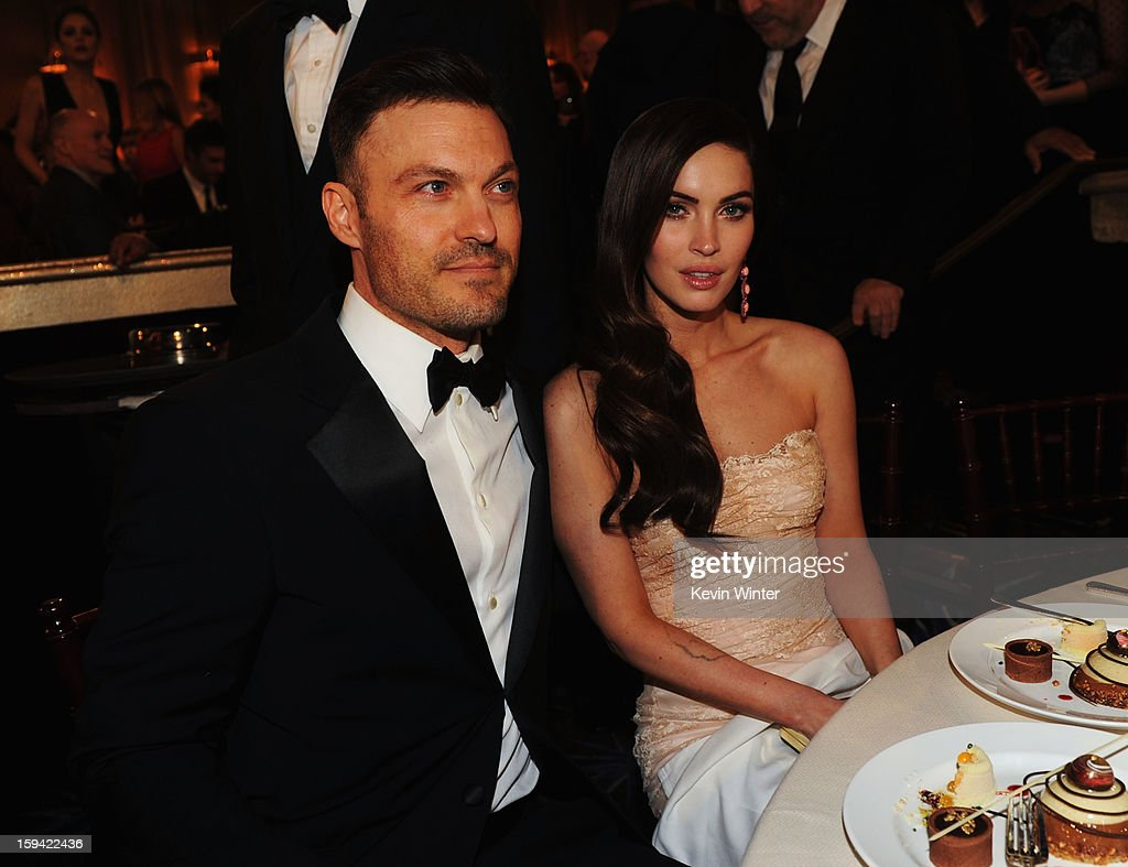 Actor <a gi-track='captionPersonalityLinkClicked' href=/galleries/search?phrase=Brian+Austin+Green+-+Attore&family=editorial&specificpeople=239168 ng-click='$event.stopPropagation()'>Brian Austin Green</a> (L) and actress <a gi-track='captionPersonalityLinkClicked' href=/galleries/search?phrase=Megan+Fox&family=editorial&specificpeople=2239934 ng-click='$event.stopPropagation()'>Megan Fox</a> attend the 70th Annual Golden Globe Awards Cocktail Party held at The Beverly Hilton Hotel on January 13, 2013 in Beverly Hills, California.