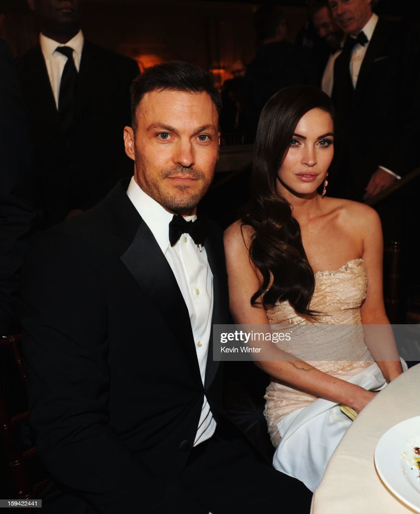 Actor Brian Austin Green (L) and actress Megan Fox attend the 70th Annual Golden Globe Awards Cocktail Party held at The Beverly Hilton Hotel on January 13, 2013 in Beverly Hills, California.