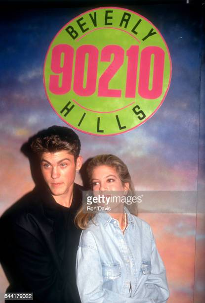 Actor Brian Austin Green and actress Tori Spelling pose for a portrait at the Launch the Release of 'Beverly Hills 90210' Series Pilot on Video at...