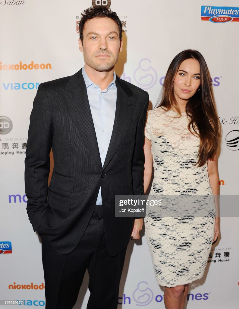 Actor Brian Austin Green and actress wife <a gi-track='captionPersonalityLinkClicked' href=/galleries/search?phrase=Megan+Fox&family=editorial&specificpeople=2239934 ng-click='$event.stopPropagation()'>Megan Fox</a> arrive at the March Of Dimes Celebration Of Babies Luncheon at Beverly Hills Hotel on December 7, 2012 in Beverly Hills, California.