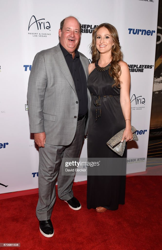 Actor Brian Baumgartner (L) and his wife Celeste Ackelson attend the 2017 Derek Jeter Celebrity Invitational gala at the Aria Resort & Casino on April 20, 2017 in Las Vegas, Nevada.