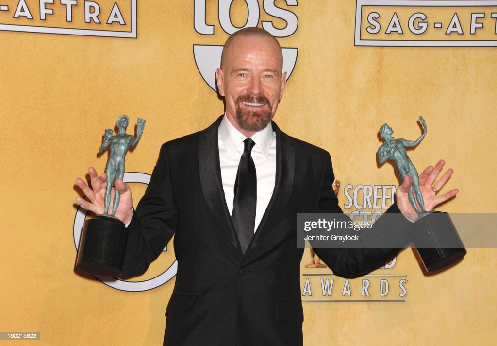 Actor Brian Cranston poses in the press room at the 19th Annual Screen Actors Guild Awards at The Shrine Auditorium on January 27, 2013 in Los Angeles, California.