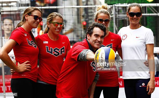 Actor Brian d'Arcy James meets with Olympic volleyball hopefuls Jess Gysin Jennifer Fopma Whitney Pavlik and Christal Engle during the Team USA Road...