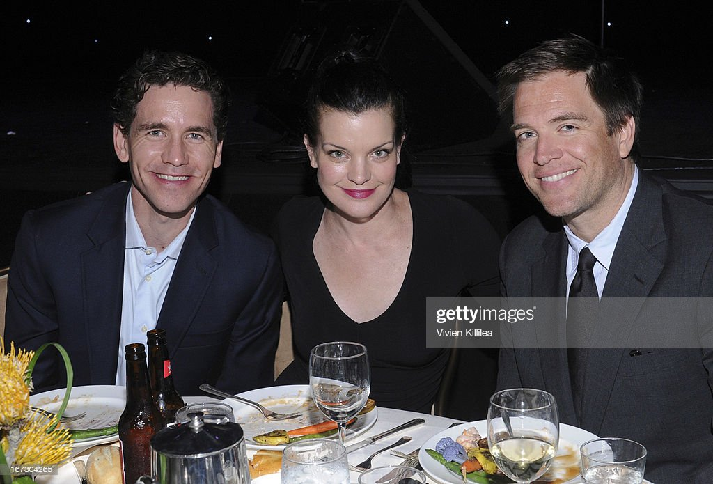 Actor Brian Dietzen, <a gi-track='captionPersonalityLinkClicked' href=/galleries/search?phrase=Pauley+Perrette&family=editorial&specificpeople=625846 ng-click='$event.stopPropagation()'>Pauley Perrette</a> and <a gi-track='captionPersonalityLinkClicked' href=/galleries/search?phrase=Michael+Weatherly&family=editorial&specificpeople=3321266 ng-click='$event.stopPropagation()'>Michael Weatherly</a> attend Liberty Hill's Upton Sinclair Awards Dinner Honors - Show at The Beverly Hilton Hotel on April 23, 2013 in Beverly Hills, California.