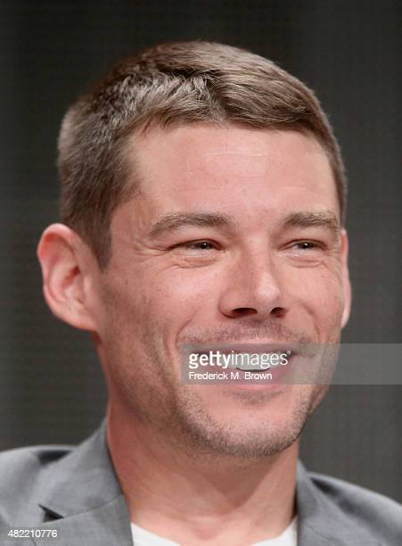 Actor Brian J Smith speaks onstage during the 'Sense8' panel discussion at the Netflix portion of the 2015 Summer TCA Tour at The Beverly Hilton...