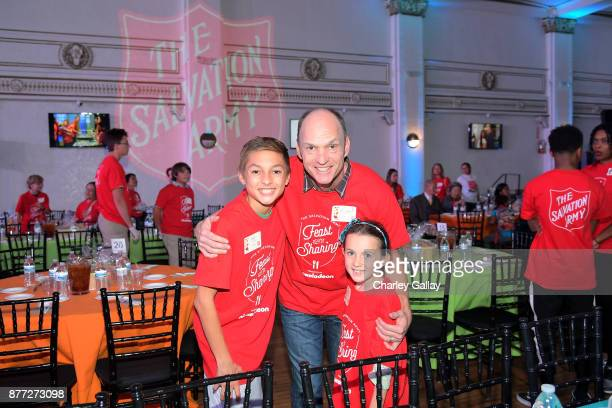Actor Brian Stepanek and kids attends The Salvation Army Feast of Sharing presented by Nickelodeon at Casa Vertigo on November 21 2017 in Los Angeles...