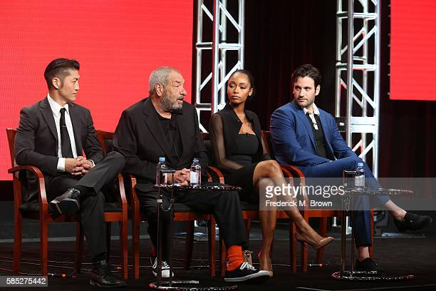Actor Brian Tee executive producer Dick Wolf and actors Yaya DaCosta and Colin Donnell speak onstage at the 'Chicago Med' panel discussion during the...