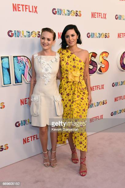Actor Britt Robertson and executive producer Sophia Amoruso attend the premiere of Netflix's 'Girlboss' at ArcLight Cinemas on April 17 2017 in...