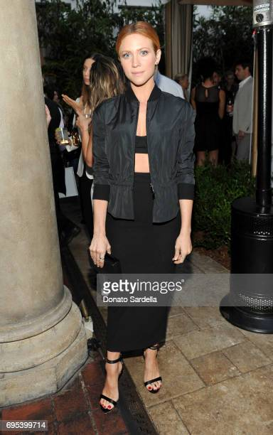 Actor Brittany Snow wearing Max Mara at Max Mara Celebrates Zoey Deutch The 2017 Women In Film Max Mara Face of the Future at Chateau Marmont on June...