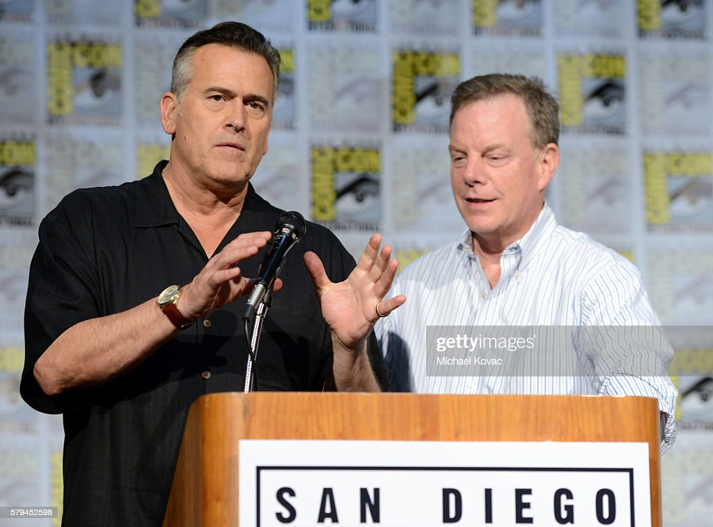 Actor Bruce Campbell and producer Robert Tapert speak on stage at the 'Ash vs Evil Dead' ComicCon screening at the San Diego Convention Center on...