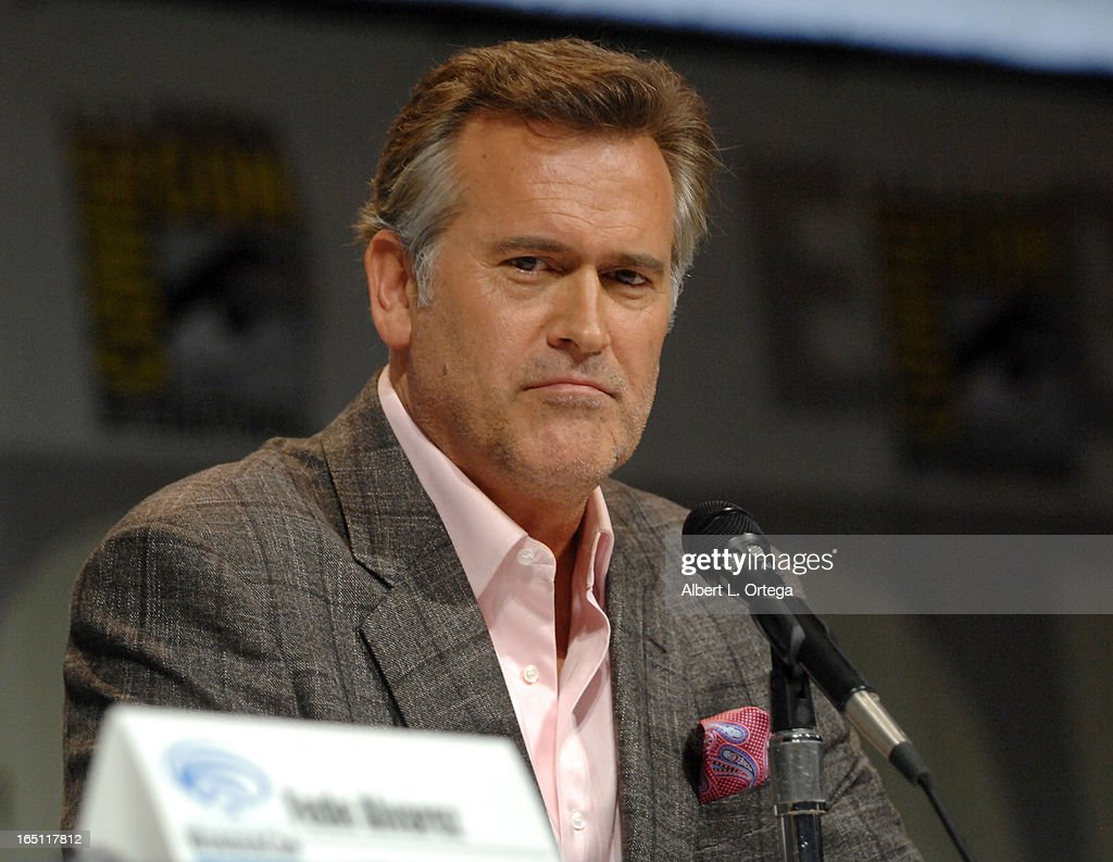 Actor Bruce Campbell promotes 'Evil Dead' on the Sony panel at WonderCon Anaheim 2013 - Day 2 at Anaheim Convention Center on March 30, 2013 in Anaheim, California.