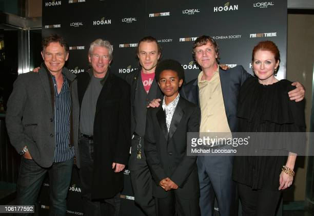 Actor Bruce Greenwood actor Richard Gere actor Heath Ledger actor Marcus Carl Franklin director Todd Haynes and actress Julianne Moore attend 'I'm...