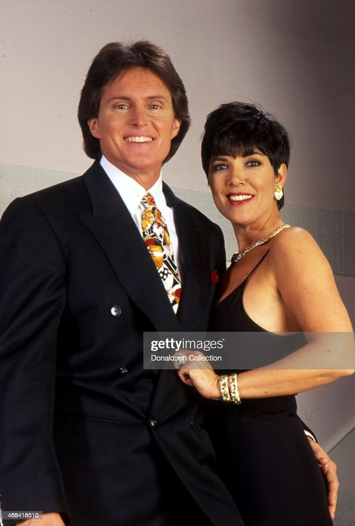Actor Bruce Jenner and his wife Kris Jenner pose for a portrait in 1991 in Los Angeles California