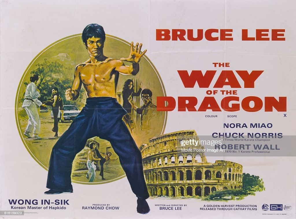 Actor <a gi-track='captionPersonalityLinkClicked' href=/galleries/search?phrase=Bruce+Lee+-+Actor&family=editorial&specificpeople=453429 ng-click='$event.stopPropagation()'>Bruce Lee</a> appears on a poster for the movie 'Way of the Dragon', which he also directed, 1972. The Colosseum is pictured on the bottom right.