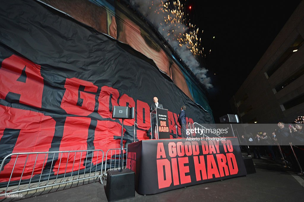 Actor Bruce Willis and Co-Chairman & Chief Executive Officer of Fox Filmed Entertainment Jim Gianopulos attend the dedication and unveiling of a new soundstage mural celebrating 25 years of 'Die Hard' at Fox Studio Lot on January 31, 2013 in Century City, California.