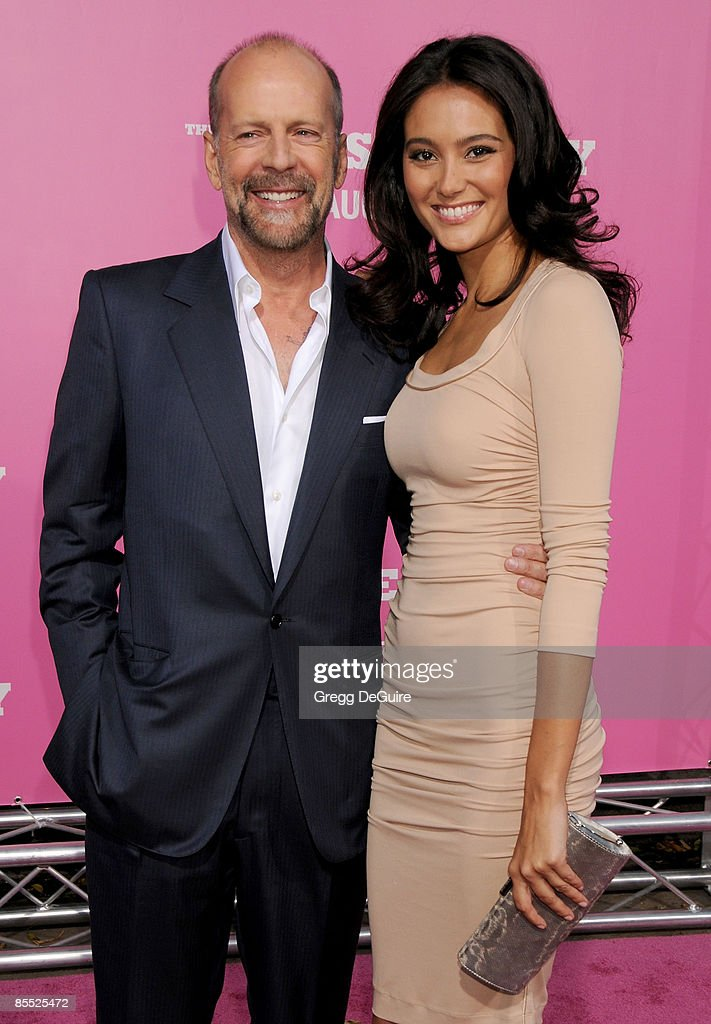 Actor Bruce Willis and Emma Heming arrives at Sony Pictures' Premiere of 'House Bunny' at the Mann Village Theatre on August 14, 2008 in Los Angeles, California.