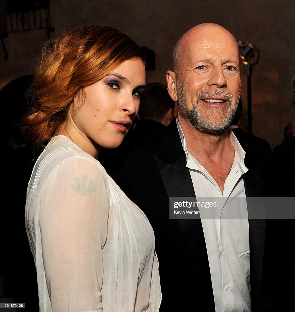 Actor <a gi-track='captionPersonalityLinkClicked' href=/galleries/search?phrase=Bruce+Willis&family=editorial&specificpeople=202185 ng-click='$event.stopPropagation()'>Bruce Willis</a> (R) and his daughter actress <a gi-track='captionPersonalityLinkClicked' href=/galleries/search?phrase=Rumer+Willis&family=editorial&specificpeople=617003 ng-click='$event.stopPropagation()'>Rumer Willis</a> pose at the after party for the premiere of Paramount Pictures' 'G.I. Joe: Retaliation' at the Roosevelt Hotel on March 28, 2013 in Los Angeles, California.
