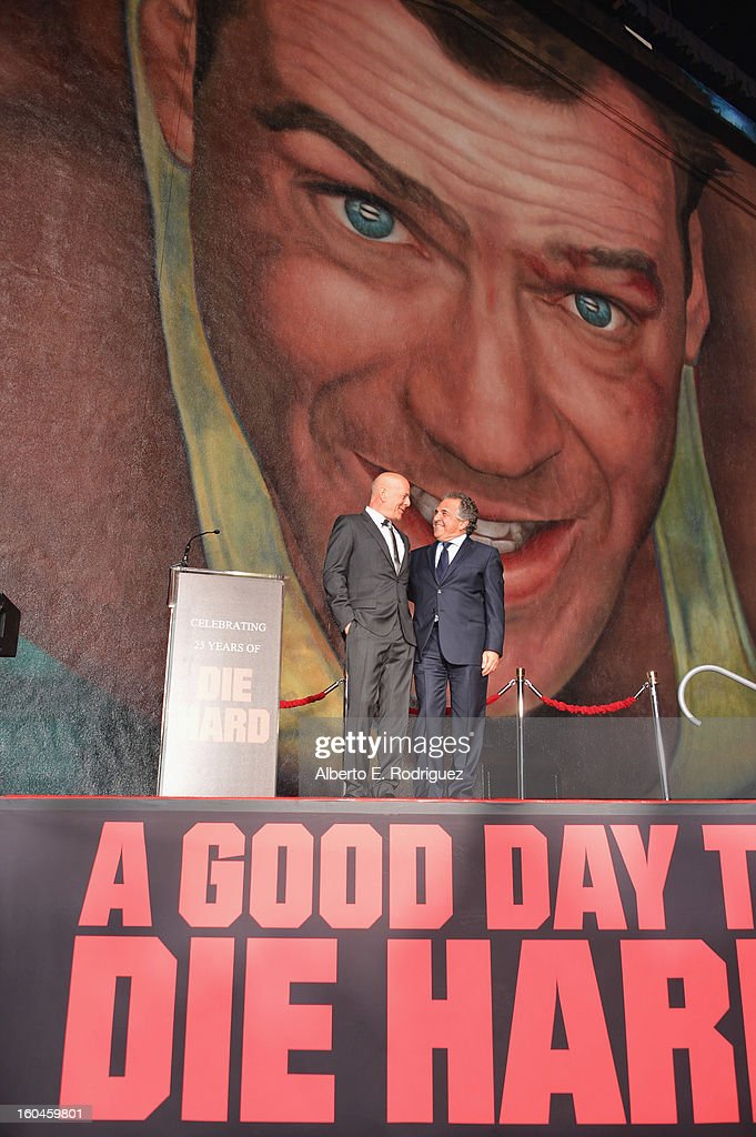 Actor Bruce Willis and Jim Gianopulos, Co-Chairman & Chief Executive Officer of Fox Filmed Entertainment attend the dedication and unveiling of a new soundstage mural celebrating 25 years of 'Die Hard' at Fox Studio Lot on January 31, 2013 in Century City, California.