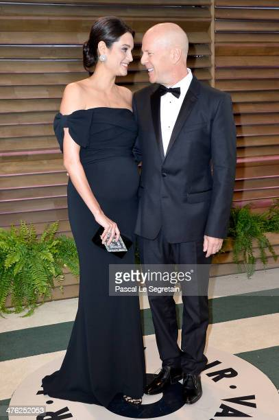Actor Bruce Willis and model Emma Heming attends the 2014 Vanity Fair Oscar Party hosted by Graydon Carter on March 2 2014 in West Hollywood...