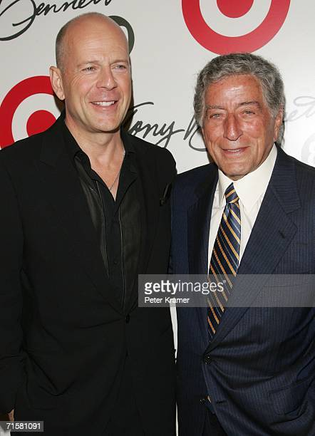 Actor Bruce Willis and singer Tony Bennett attend Bennett's 80th birthday celebration hosted by Target at The Museum of Natural History on August 3...