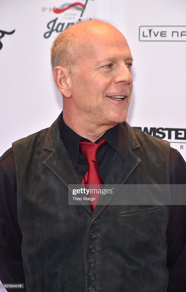 Actor Bruce Willis attends 'Steven Tyler...Out on a Limb' Show to Benefit Janie's Fund in Collaboration with Youth Villages - Red Carpet at David Geffen Hall on May 2, 2016 in New York City.
