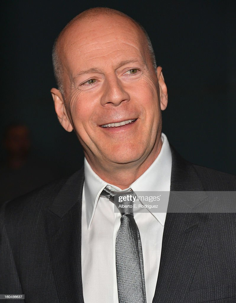 Actor <a gi-track='captionPersonalityLinkClicked' href=/galleries/search?phrase=Bruce+Willis&family=editorial&specificpeople=202185 ng-click='$event.stopPropagation()'>Bruce Willis</a> attends the dedication and unveiling of a new soundstage mural celebrating 25 years of 'Die Hard' at Fox Studio Lot on January 31, 2013 in Century City, California.
