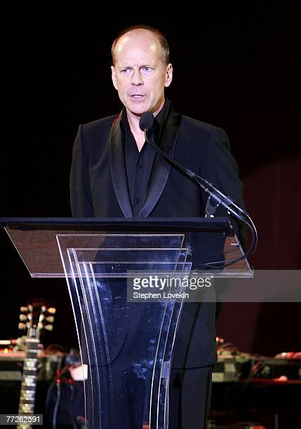 Actor Bruce Willis attends the 'Heart Of Gold Ball' to benefit The Happy Hearts Fund at Cipriani's Wall street location on October 10 2007 in New...