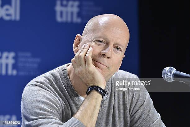 Actor Bruce Willis attends the 'Looper' press conference during the 2012 Toronto International Film Festival at TIFF Bell Lightbox on September 6...