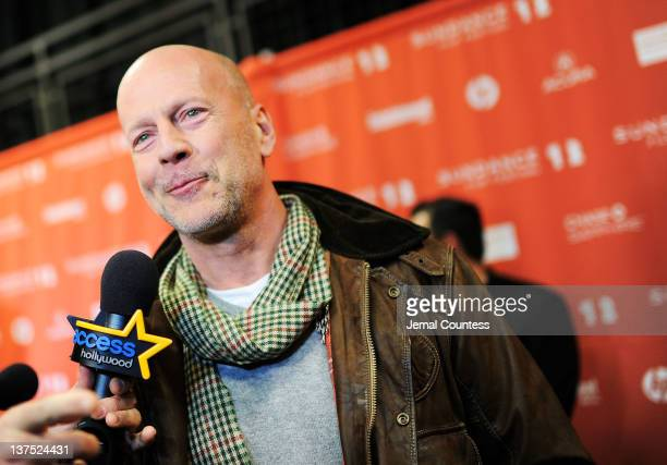 Actor Bruce Willis during an interview at the 'Lay the Favorite' premiere during the 2012 Sundance Film Festival held at Eccles Center Theatre on...