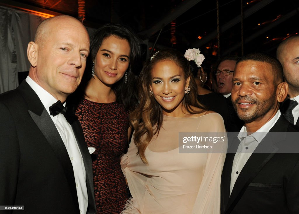 Actor <a gi-track='captionPersonalityLinkClicked' href=/galleries/search?phrase=Bruce+Willis&family=editorial&specificpeople=202185 ng-click='$event.stopPropagation()'>Bruce Willis</a>, <a gi-track='captionPersonalityLinkClicked' href=/galleries/search?phrase=Emma+Heming&family=editorial&specificpeople=734062 ng-click='$event.stopPropagation()'>Emma Heming</a>, singer/actress <a gi-track='captionPersonalityLinkClicked' href=/galleries/search?phrase=Jennifer+Lopez&family=editorial&specificpeople=201784 ng-click='$event.stopPropagation()'>Jennifer Lopez</a>, and <a gi-track='captionPersonalityLinkClicked' href=/galleries/search?phrase=Benny+Medina&family=editorial&specificpeople=599699 ng-click='$event.stopPropagation()'>Benny Medina</a> attend Relativity Media and The Weinstein Company's 2011 Golden Globe Awards After Party presented by Marie Claire held at The Beverly Hilton hotel on January 16, 2011 in Beverly Hills, California.