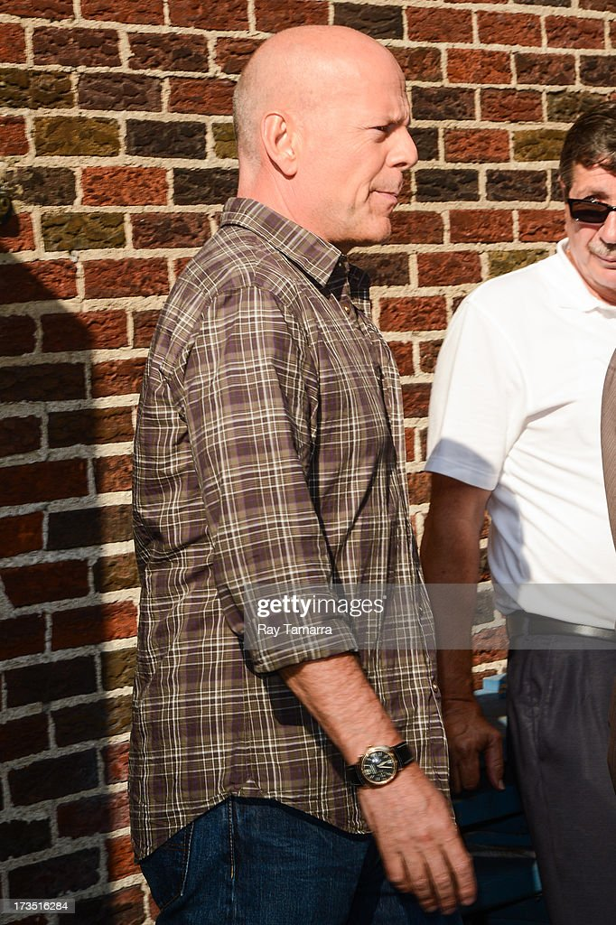 Actor <a gi-track='captionPersonalityLinkClicked' href=/galleries/search?phrase=Bruce+Willis&family=editorial&specificpeople=202185 ng-click='$event.stopPropagation()'>Bruce Willis</a> leaves the 'Late Show With David Letterman' taping at the Ed Sullivan Theater on July 15, 2013 in New York City.