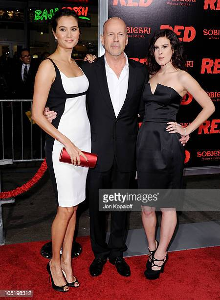 Actor Bruce Willis wife Emma Heming and daughter actress Rumer Willis arrive at the Los Angeles Premiere 'RED' at Grauman's Chinese Theatre on...