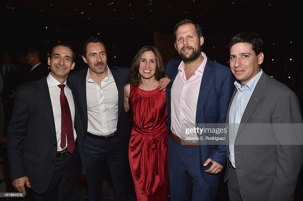 Actor Bruno Bichir, actor <a gi-track='captionPersonalityLinkClicked' href=/galleries/search?phrase=Demian+Bichir&family=editorial&specificpeople=604427 ng-click='$event.stopPropagation()'>Demian Bichir</a>, executive producer Carolyn Bernstein, Nick Grad, president of original programming & FX productions and Eric Schrier, president of original programming & FX productions attend the after party for the season premiere of FX's 'The Bridge' at the Pacific Design Center on July 7, 2014 in West Hollywood, California.