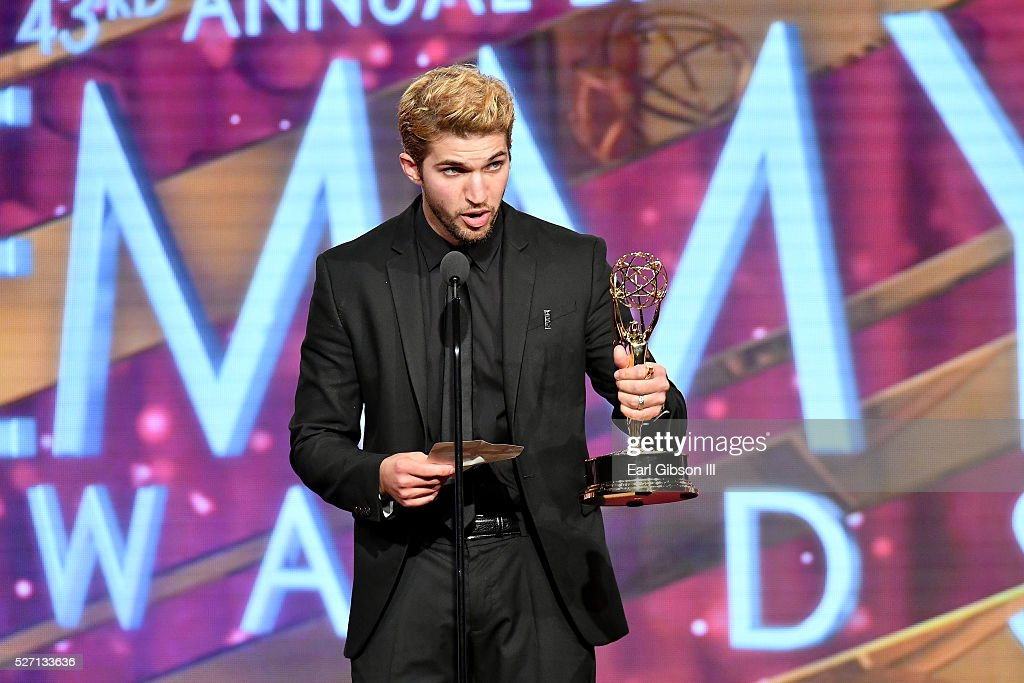 Actor <a gi-track='captionPersonalityLinkClicked' href=/galleries/search?phrase=Bryan+Craig&family=editorial&specificpeople=8088252 ng-click='$event.stopPropagation()'>Bryan Craig</a> accepts Emmy onstage at the 43rd Annual Daytime Emmy Awards at the Westin Bonaventure Hotel on May 1, 2016 in Los Angeles, California.